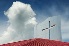 Modern church roof with cross Royalty Free Stock Image