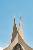 Modern church roof towers architecture of Emauzy monastery temple Royalty Free Stock Photos