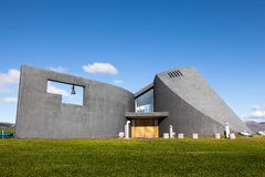 Modern church in the valley in Iceland Stock Image