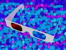 Modern cinema 3D glasses on colorful cubes. Modern cinema 3D glasses over colorful cubes background Stock Photos