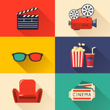 Modern cinema icons set Royalty Free Stock Images