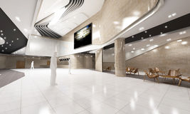 Modern Cinema Lobby Interior. Modern, conceptual 3D rendered white sleek movie theater or cinema lobby stock photo