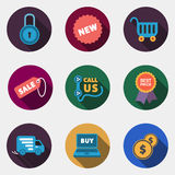 Modern circle colorful shop icons with shadow Royalty Free Stock Photo