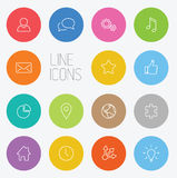 Modern circle thin line icon set Stock Images