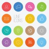 Modern circle thin line icon set Stock Images