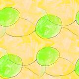 Modern circle, yellow, green seamless watercolor artist wallpape Stock Photography