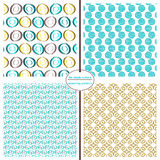 Seamless Repeating Patterns - Modern Circles. Seamless repeating circle patterns in blue, yellow and brown Royalty Free Stock Photos