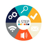 Modern circular infographics of 6 steps, segments for annual reports, charts, presentations, web design Royalty Free Stock Photography