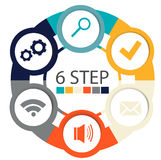 Modern circular infographics of 6 steps, segments for annual reports, charts, presentations, web design Royalty Free Stock Photo