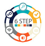 Modern circular infographics of 6 steps, segments for annual reports, charts, presentations, web design Stock Photo