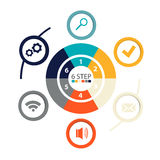 Modern circular infographics of 6 steps, segments for annual reports, charts, presentations, web design Royalty Free Stock Image