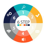 Modern circular infographics of 6 steps, segments for annual reports, charts, presentations, web design Stock Image