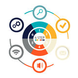 Modern circular infographics of 6 steps, segments for annual reports, charts, presentations, web design Stock Images