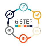 Modern circular infographics of 6 steps, segments for annual reports, charts, presentations, web design Stock Photography
