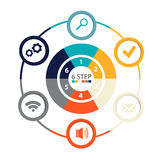 Modern circular infographics of 6 steps, segments for annual reports, charts, presentations, web design Stock Photos