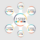 Modern circular infographics of 7 steps, segments for annual reports, charts, presentations, web design Royalty Free Stock Photography