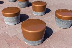 Modern circular stone seats at a Dutch square Stock Photography