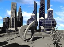 Modern city. 3d render of cartoon character in modern city Royalty Free Stock Photography