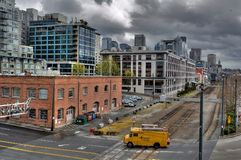 Modern city. Downtown Seattle overcast by dark clouds Stock Image