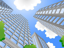 Modern city. And a beautiful day, cartoon illustrations Royalty Free Stock Photos