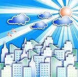 Modern city. With a cloud in the sky the sun and birds Stock Photos