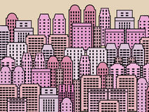 Modern city. Simple city illustration - skyscrapers and modern buildings. Contemporary metropolis and urban landscape Stock Photo