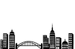 Modern City. Vector silhouette illustration of a modern city. easy to change color Royalty Free Stock Photos