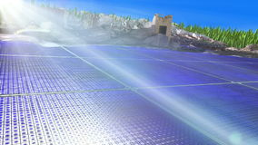 Modern city above solar cells stock video footage