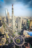 Modern city aerial view of shanghai midtown Royalty Free Stock Photo