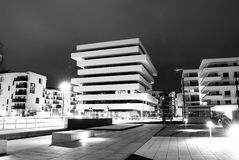 Modern city. Apartment, building, protected, apartment building, the building at night, protected housing, warsaw, artistic building, city, city by night royalty free stock photography