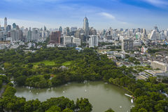 Modern city of Bangkok. Thailand and Suan Lum (Lumpini Park Royalty Free Stock Image