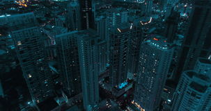 Modern city during beautiful cloudy night stock footage
