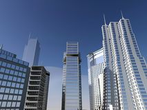 Modern city and blue sky Stock Photography