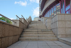 Modern city building a street stairs and sky Royalty Free Stock Images