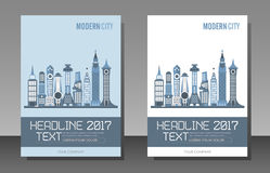 Modern City Buildings, magazine template. Modern city buildings vector template of magazine cover, size A4. Two variants of an architectural background design Stock Photos