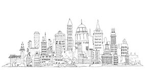 Modern city business aria, Sketch collection illustration Royalty Free Stock Photo