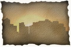 A modern city on canvas. A contrast between modern and old time Royalty Free Stock Photos