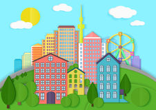 Modern city cardboard landscape. Paper color style urban city vector illustration. Royalty Free Stock Photos