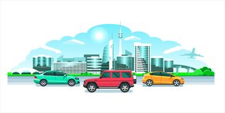 Modern City & cars, panorama. Seaside sunrise or sunset, a picturesque landscape with modern snowy buildings & multicolored. Hi-tech cool city cars, panorama Stock Images