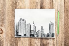 Free Modern City Center Pencil Draw Royalty Free Stock Photo - 147939125