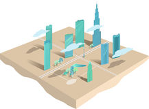 Modern city. Conceptual map or 3d model of a modern city downtown,  illustration Stock Photography
