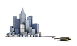 Modern city is connected to the USB.  Stock Image