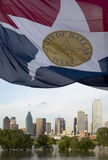 Modern city Dallas skyline and  waving flag Royalty Free Stock Photography