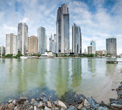 Modern city during the day on square format. (gold coast, queensland, australia stock photo