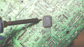 Modern city diorama and electric circuit board digital transformation abstract image visual Stock Image