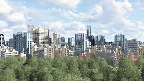 Modern city district with green park zone. Modern big city district with high rise buildings skyscrapers and green park zone against cloudy sky at daytime. 3D Royalty Free Stock Photo