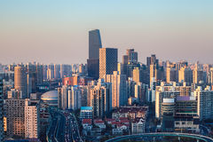 Modern city at dusk in shanghai Royalty Free Stock Photo