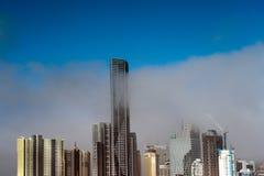 Modern City Early Morning Fog Stock Photo