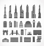 Modern city elements silhouettes Royalty Free Stock Photography