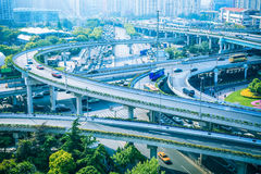 Modern city elevated road  overpass in morning Royalty Free Stock Photography
